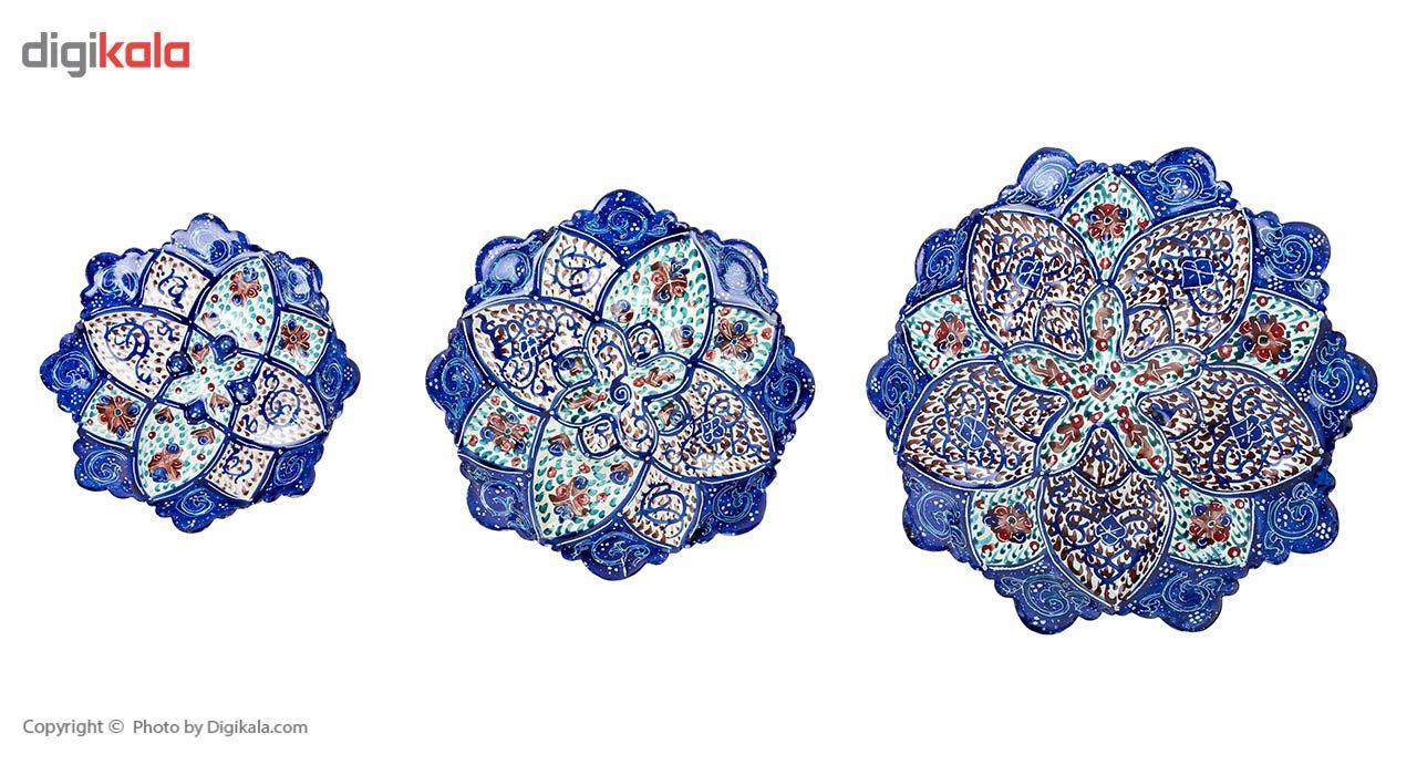 بشقاب مسی میناکاری شده اثر سلطانی طرح 1 سایز کوچک سری سه عددی