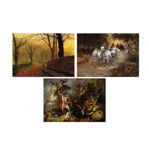 تابلو  دیواری سه تکه چاپ سی طرح معروف ترین نقاشی های جهان کد FP134