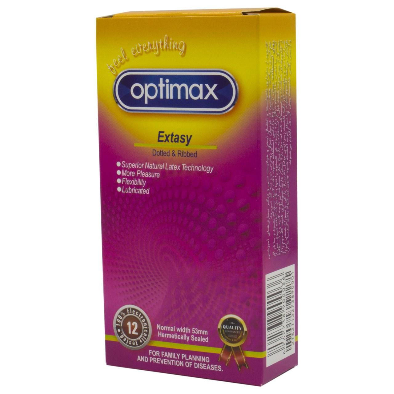 کاندوم اپتیمکس مدل Extasy بسته 12 عددی