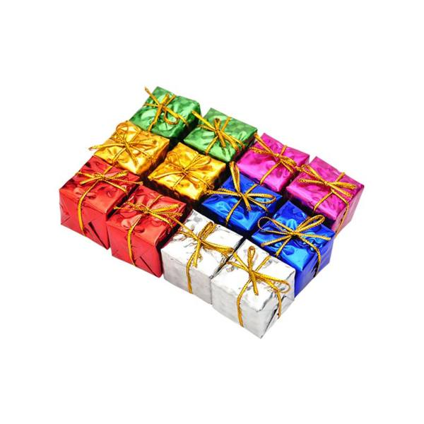 آویز درخت کریسمس سورتک مدل جعبه کادو بسته 12 عددی