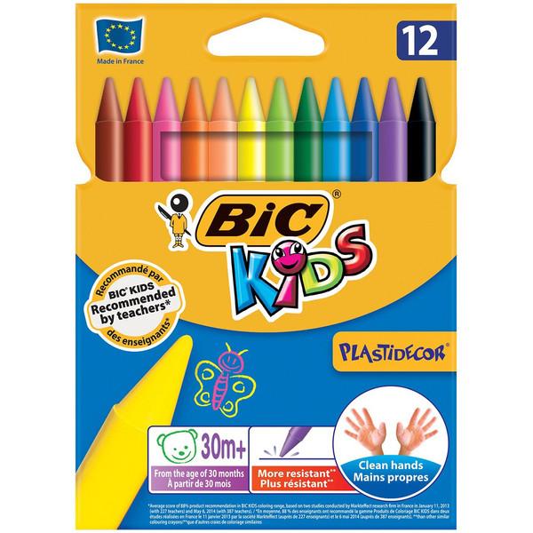 مداد شمعی 12 رنگ بیک سری کیدز پلاستی دکور