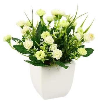 گلدان به همراه گل مصنوعی هومز  طرح میخک مدل 45046