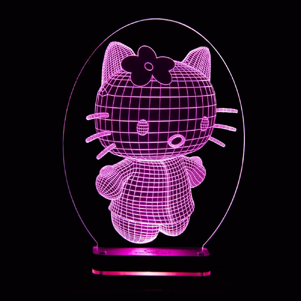 چراغ خواب سه بعدی نورا مدل کیتی