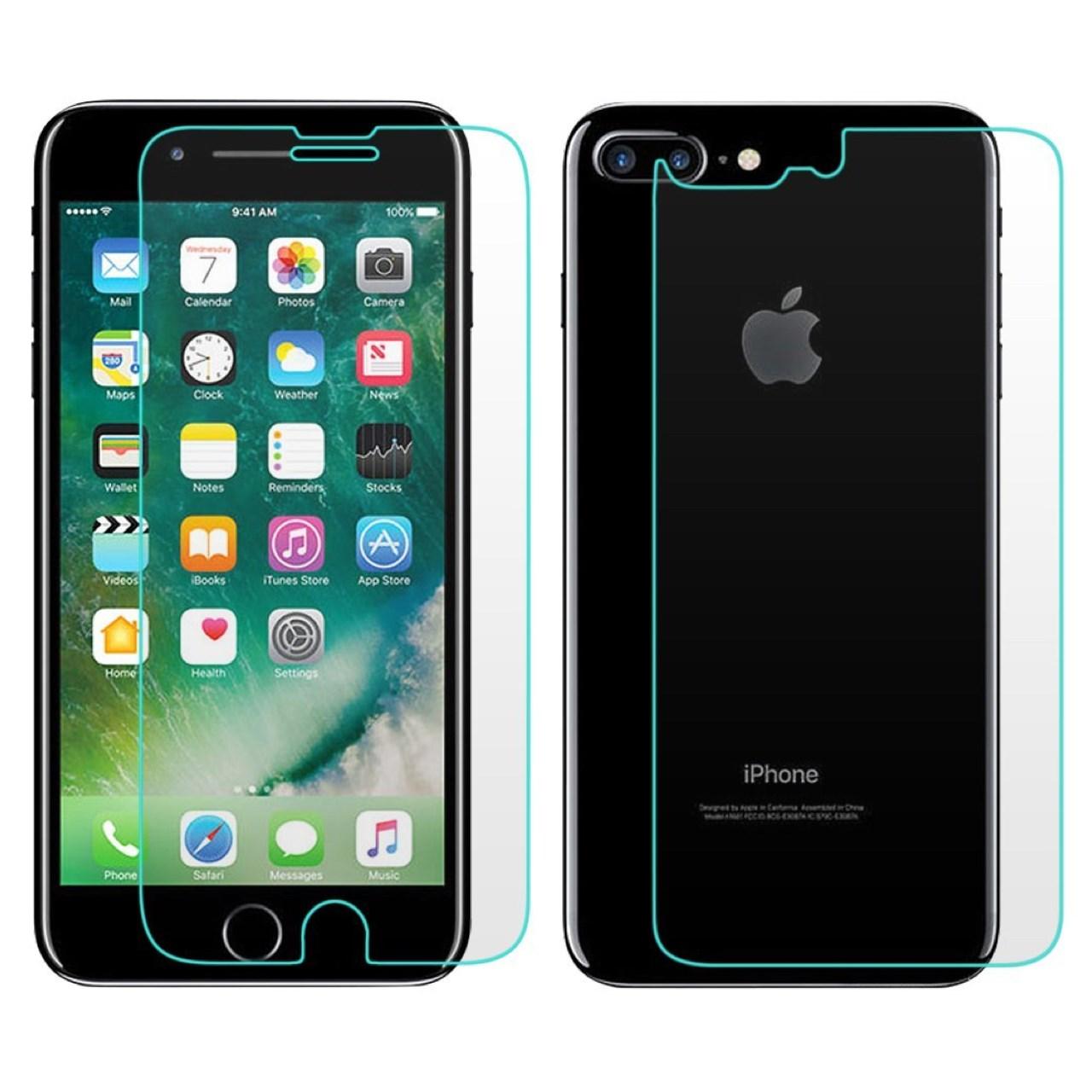 محافظ صفحه نمایش و پشت شیشه ای تمپرد مناسب برای گوشی موبایل اپل آیفون 7 پلاس