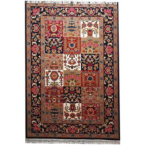 فرش زمرد مشهد طرح خشتی بختیاری رنگ سورمه ای