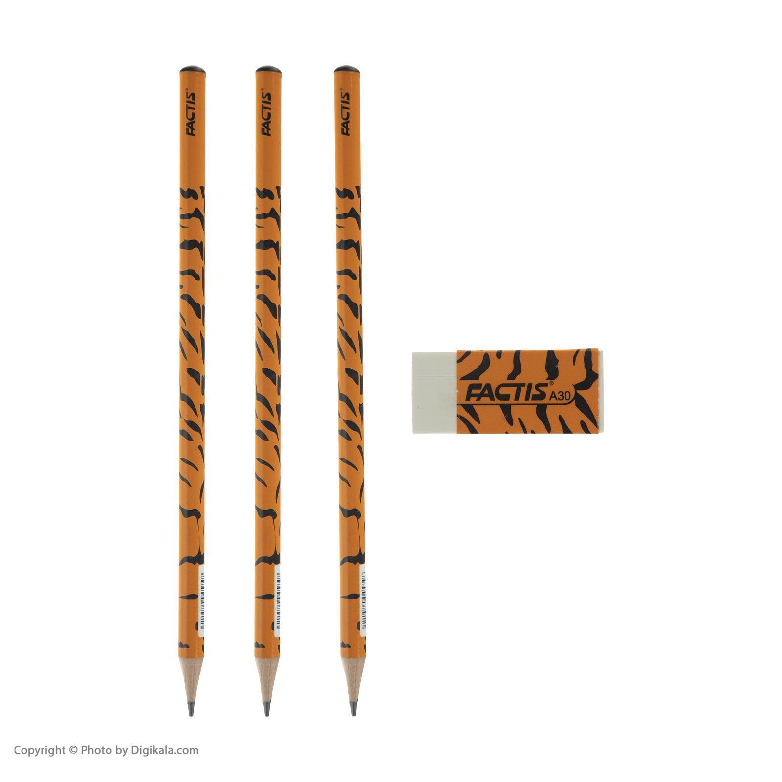 ست مداد مشکی و پاک کن فکتیس طرح ببر بسته 3 عددی main 1 1