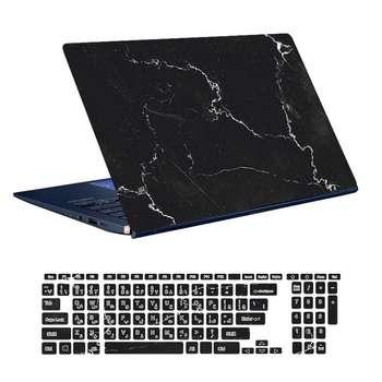 استیکر لپ تاپ توییجین و موییجین طرح Marble کد 07 مناسب برای لپ تاپ 15.6 اینچ به همراه برچسب حروف فارسی کیبورد