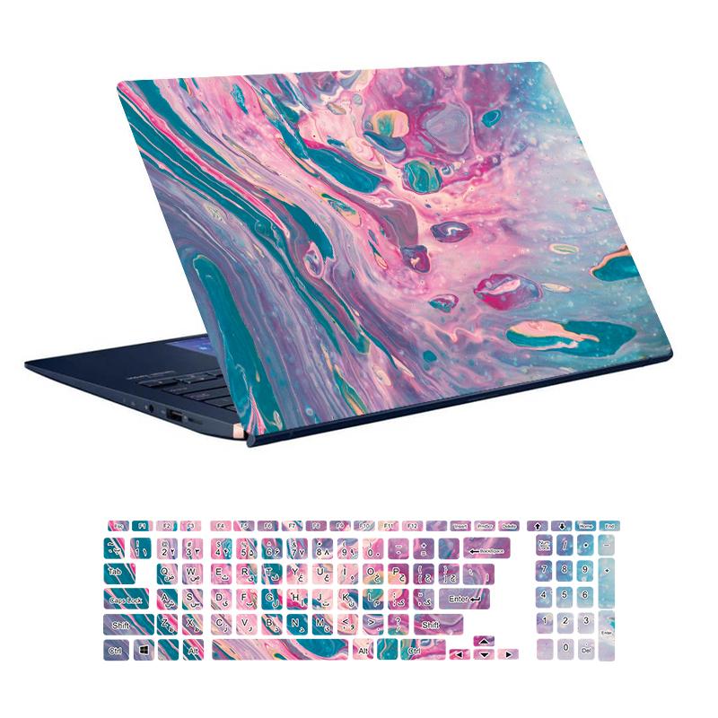 استیکر لپ تاپ توییجین و موییجین طرح Colorful کد 74 مناسب برای لپ تاپ 15.6 اینچ به همراه برچسب حروف فارسی کیبورد