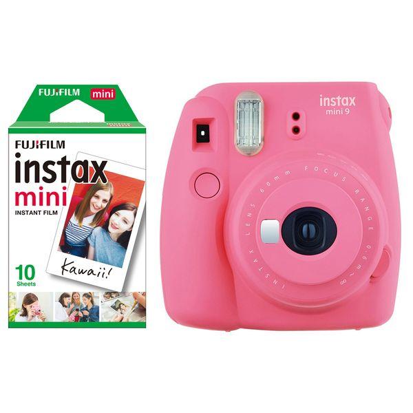 دوربین عکاسی چاپ سریع فوجی فیلم مدل Instax Mini 9 به همراه فیلم مخصوص فوجی فیلم مدل Instax Mini