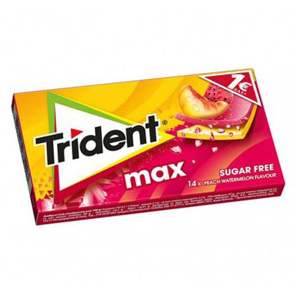 آدامس استیک بدون شکر با طعم هندوانه و هلو تریدنت بسته 14 عددی