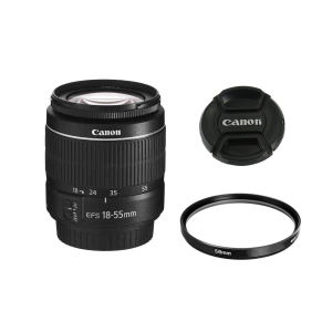 لنز دوربین کانن مدل  لنز کانن EF-S 18-55mm f/3.5-5.6 III به همراه فیلتر یو وی 58 کانن و درب 58 کانن