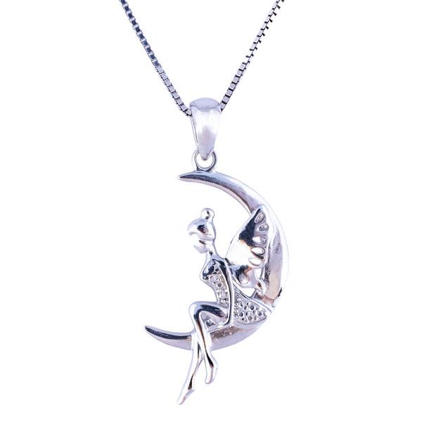 گردنبند نقره زنانه مدل ماه و فرشته  AMT_M021