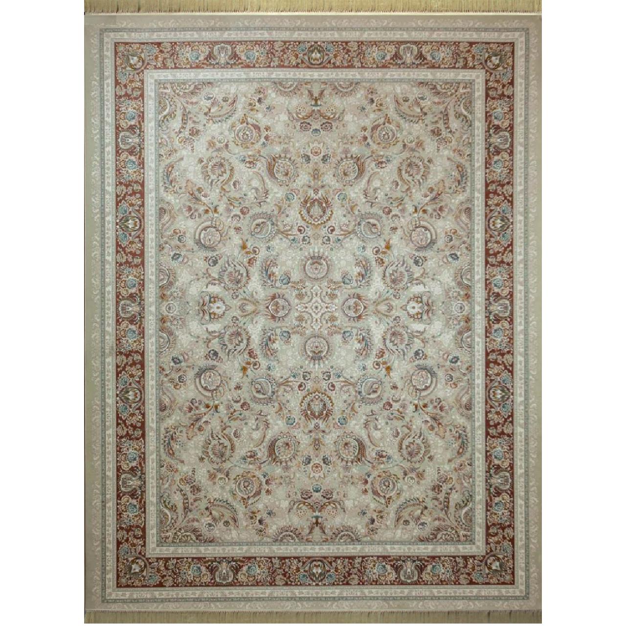 فرش ماشینی کد afrand_55010 زمینه کرم