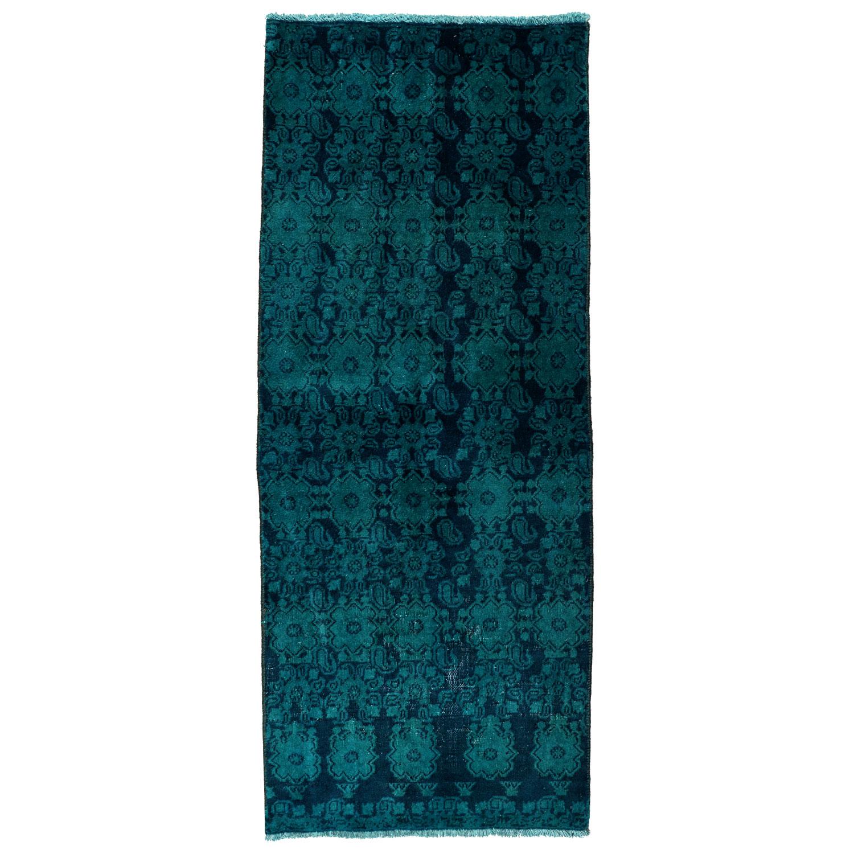 فرش دستبافت رنگ شده کناره طول یک و نیم متر طرح وینتج کد 991262