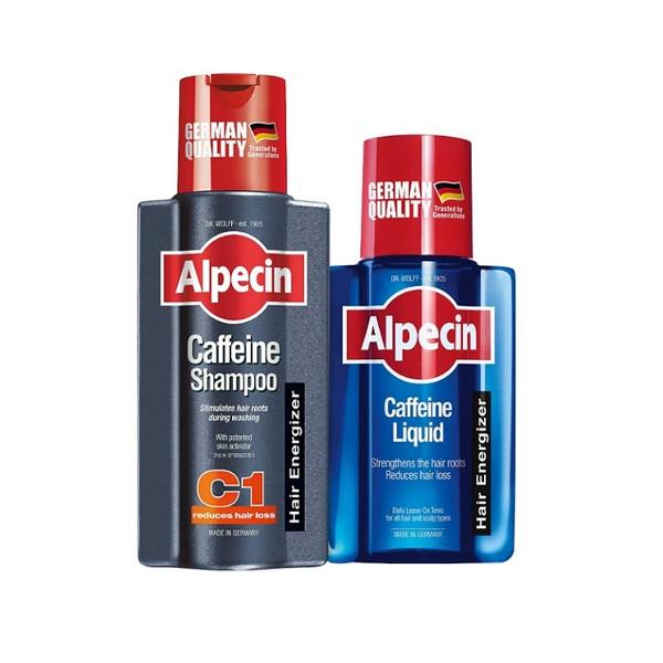 شامپو مو آلپسین مدل Caffeine C1 حجم 250 میلی لیتر به همراه محلول تقویت کننده مو آلپسین مدل Caffeine حجم 200 میلی لیتر