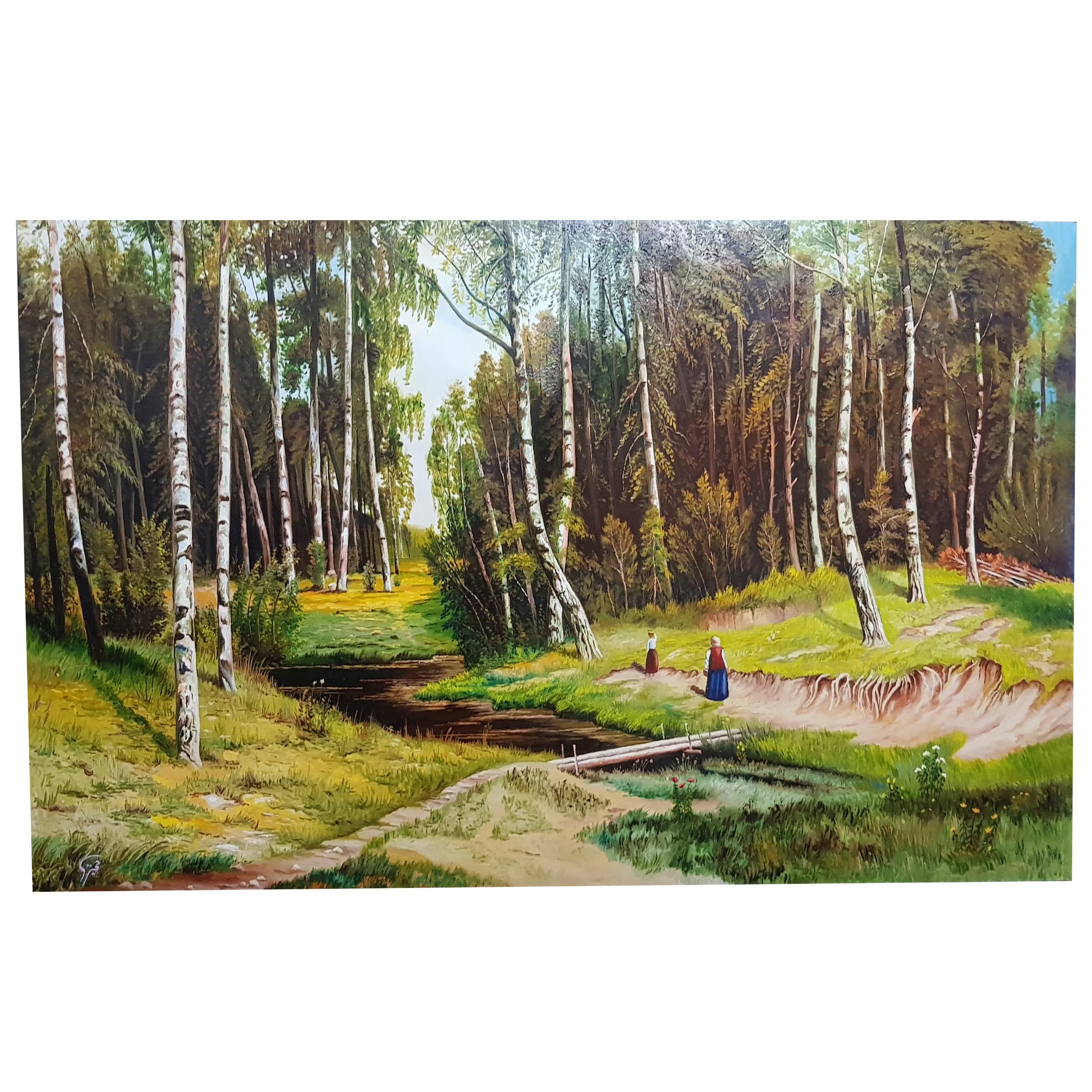 خرید                      تابلو نقاشی رنگ روغن مدل جنگل
