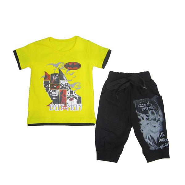 ست تی شرت و شلوارک پسرانه طرح بتمن کد 2199