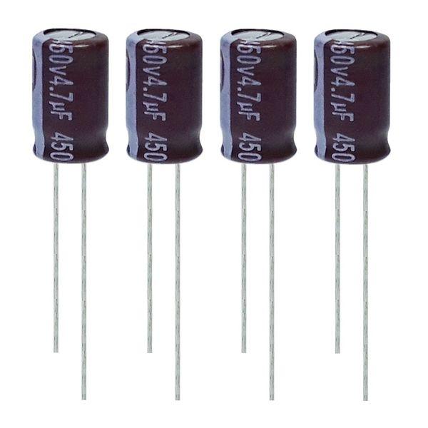 خازن الکترولیت 4.7 میکروفاراد 450 ولت آکسبوم مدل TEC-470450 بسته 4 عددی