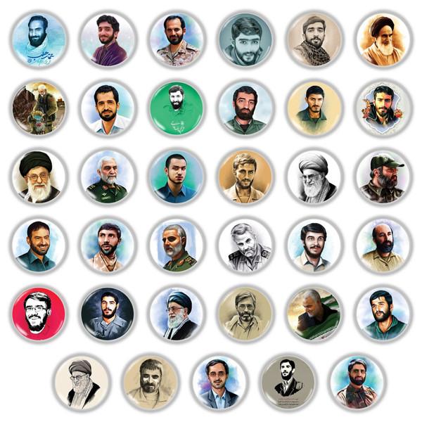 پیکسل طرح تصویر شهدا و امام و رهبری مجموعه 35 عددی