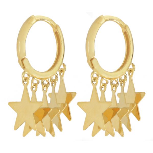 گوشواره طلا 18 عیار زنانه طلای مستجابی طرح ستاره مدل 670148