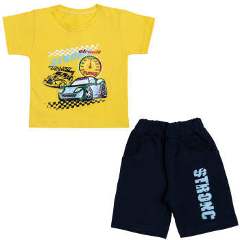 ست تی شرت و شلوارک پسرانه مدل ماشین رالی کد 120 رنگ زرد