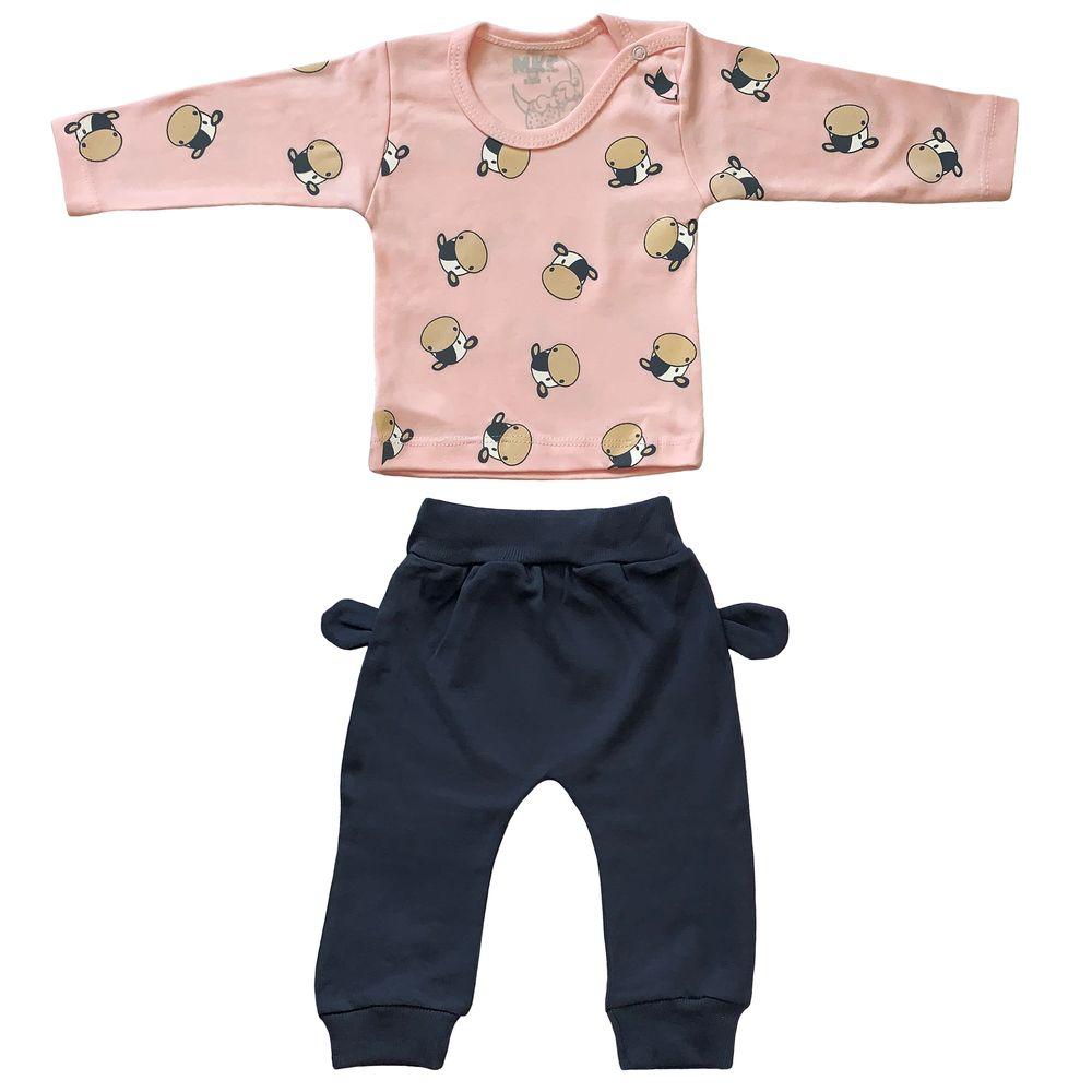 ست تی شرت و شلوار نوزادی طرح گاو کد FF-080