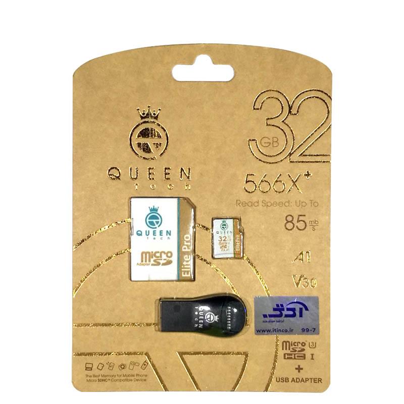 کارت حافظه microSDHC کوئین تک مدل +Elite pro 566X کلاس 10 استاندارد UHS-I U3 سرعت 85MBps ظرفیت 32 گیگابایت به همراه آداپتور SD و کارت خوان