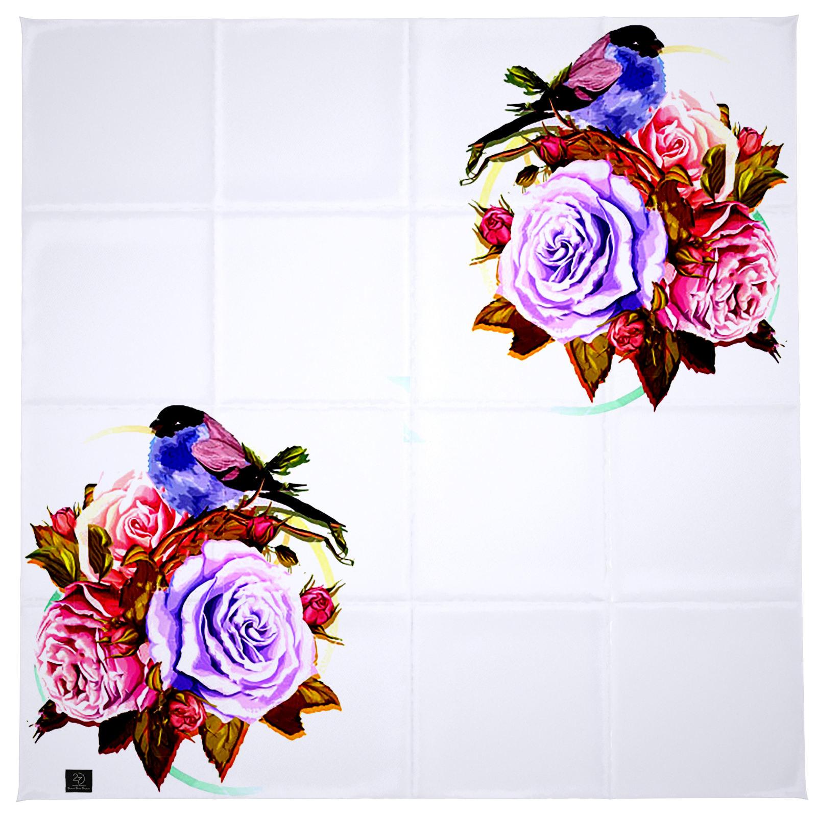 روسری زنانه 27 طرح پرنده و گل کد H06 -  - 7