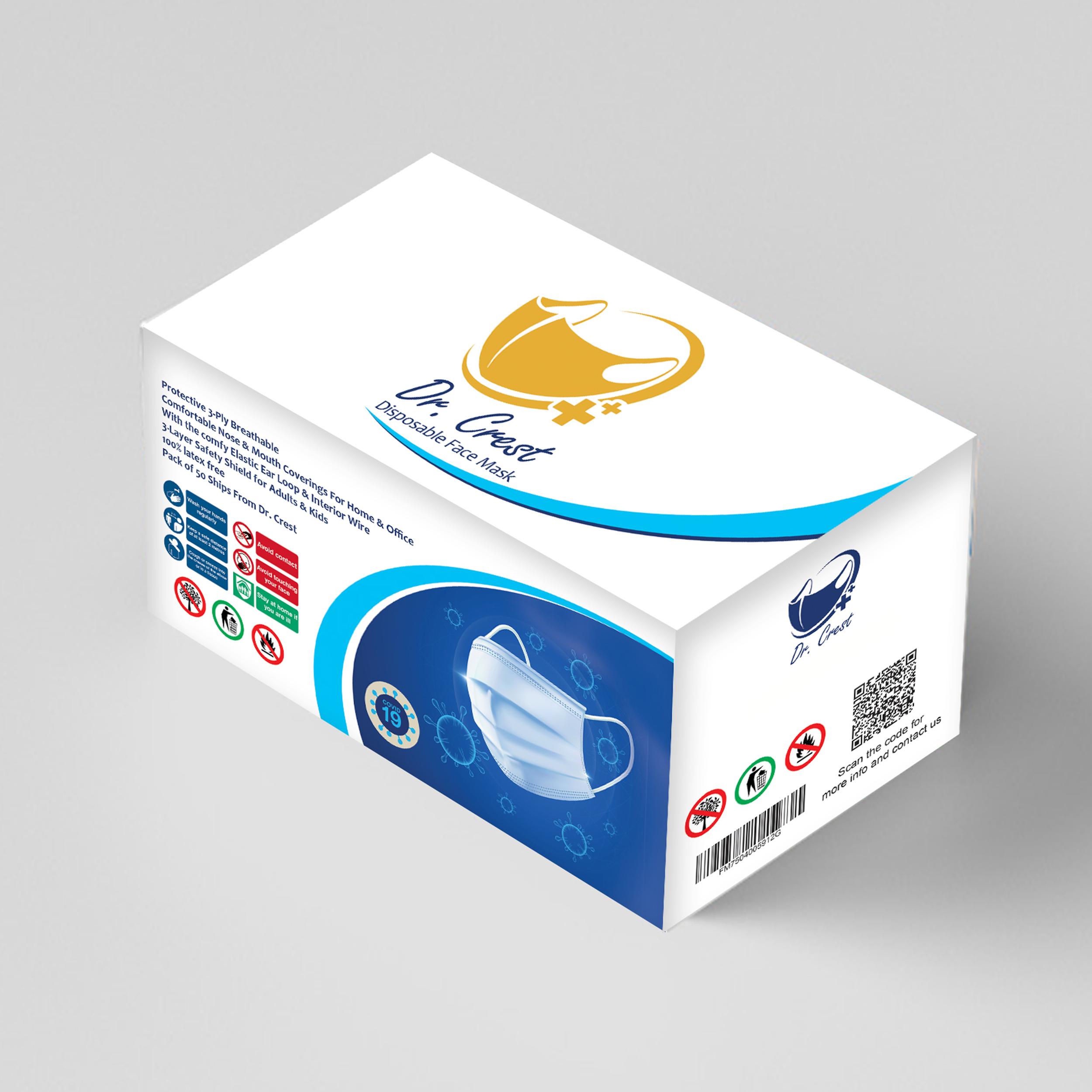ماسک تنفسی دکتر کرست مدل Dr-c50 بسته 200 عددی ( 4 جعبه 50 عددی )