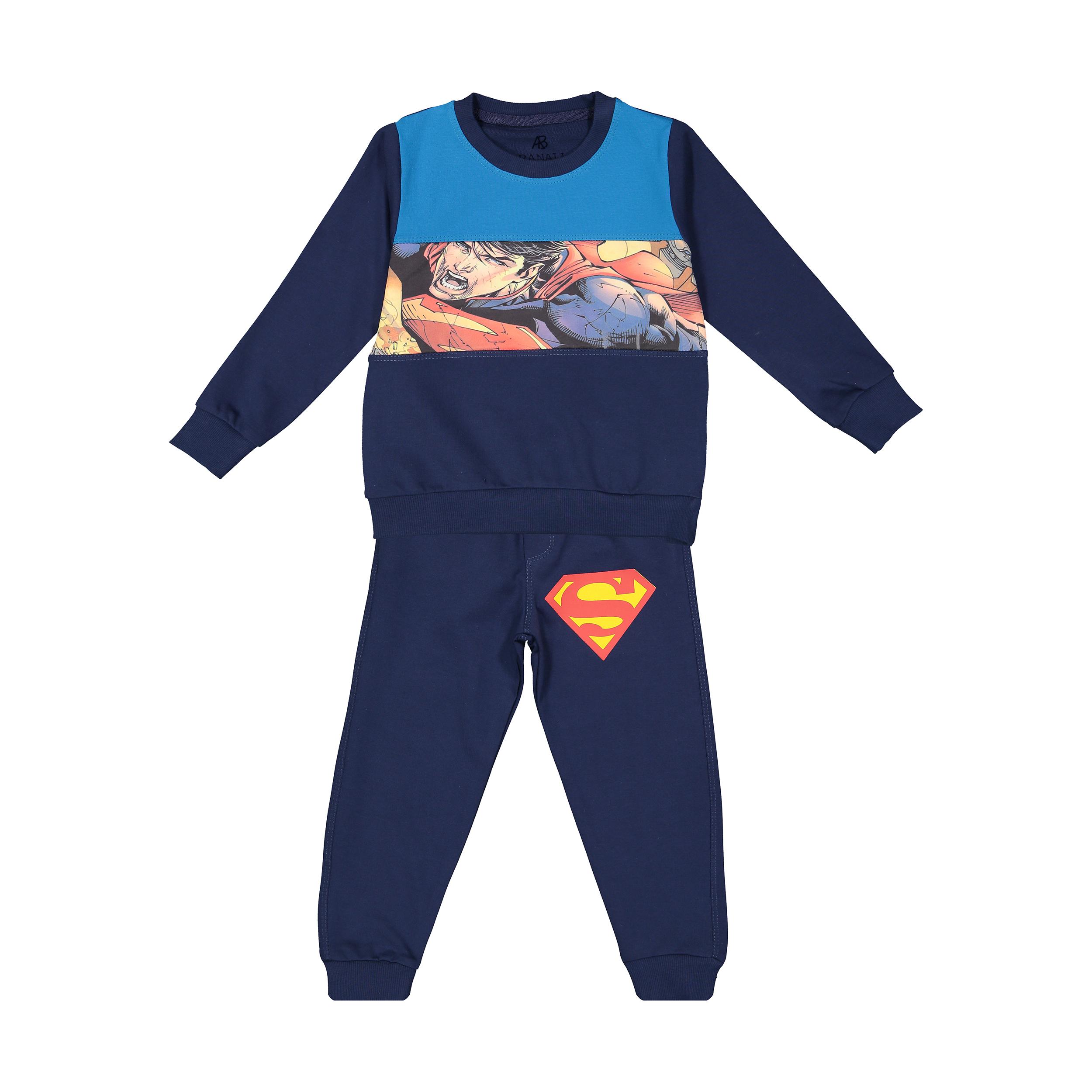 خرید                     ست سویشرت و شلوار پسرانه بانالی طرح سوپرمن کد ۱۶۹۱