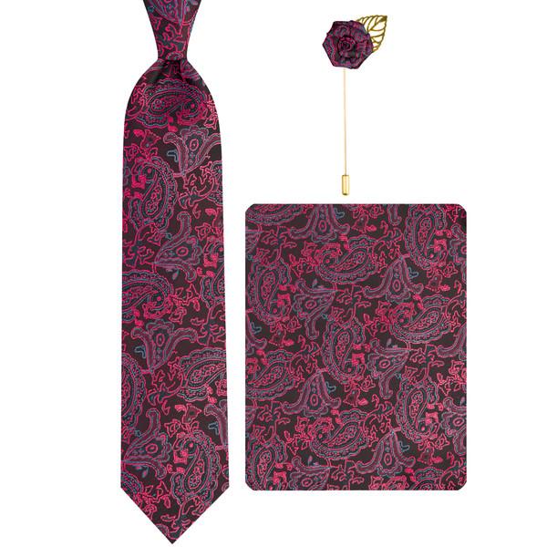 ست کراوات و دستمال جیب و گل کت مردانه جیان فرانکو روسی مدل GF-PA829-BE