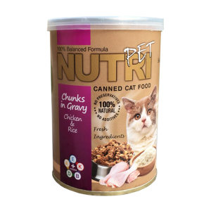کنسرو غذای گربه نوتری پت مدل Chunks In Gravy Chicken And Rice مقدار 425 گرم