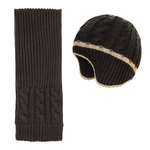 ست کلاه و شال گردن بافتنی پسرانه کد P02083 رنگ قهوه ای