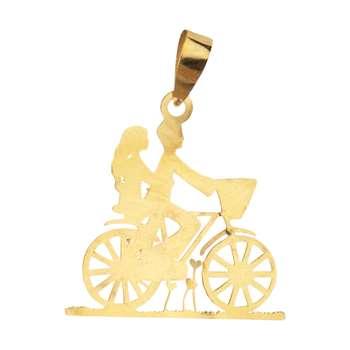 آویز گردنبند طلا 18 عیار زنانه باراد زر مدل دوچرخه سوار کد b26