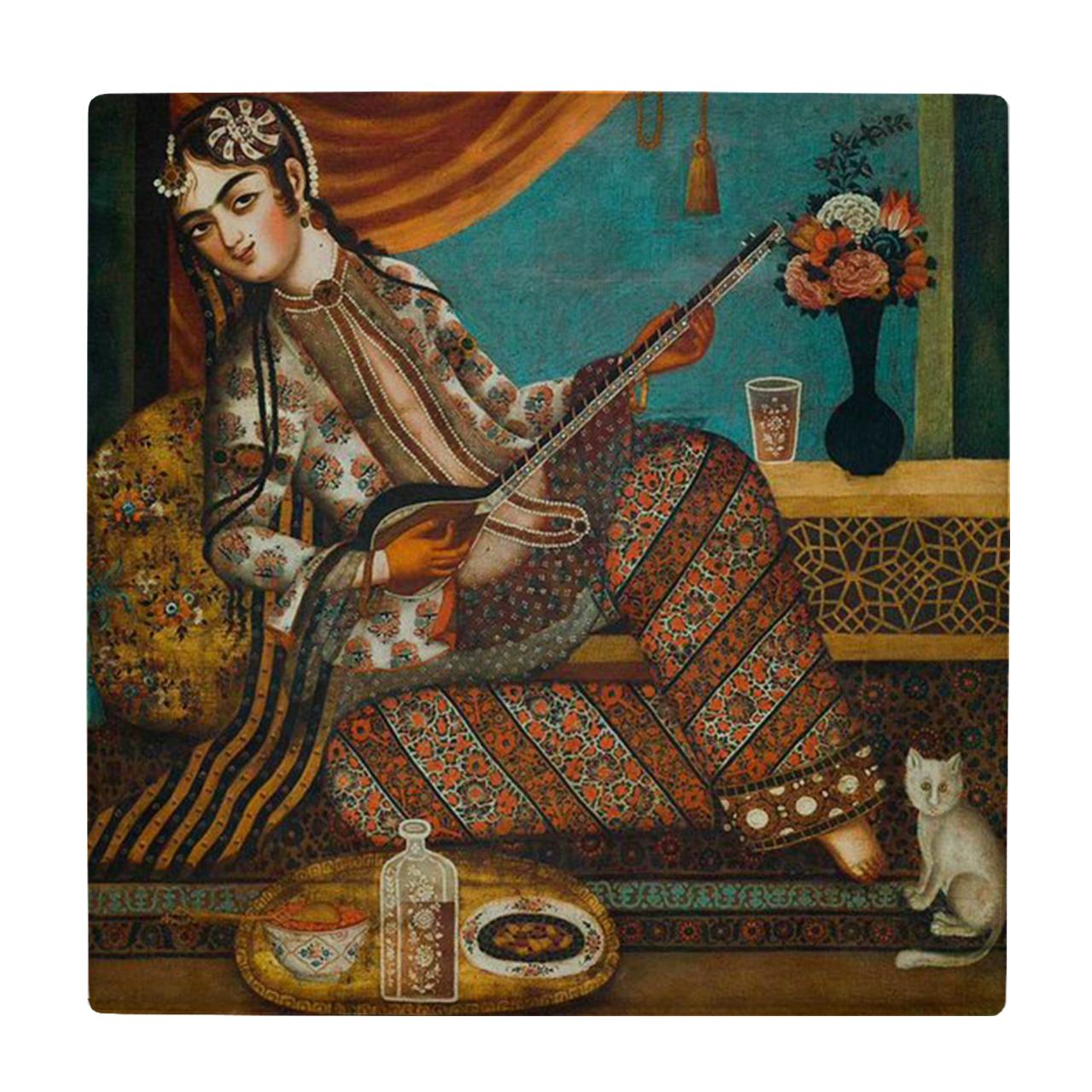 کاشی طرح نقاشی خاتون تار نواز کد wk1961