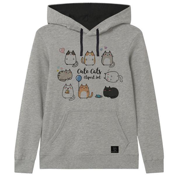هودی دخترانه 27 مدل CUTE CATS کد V15 رنگ طوسی