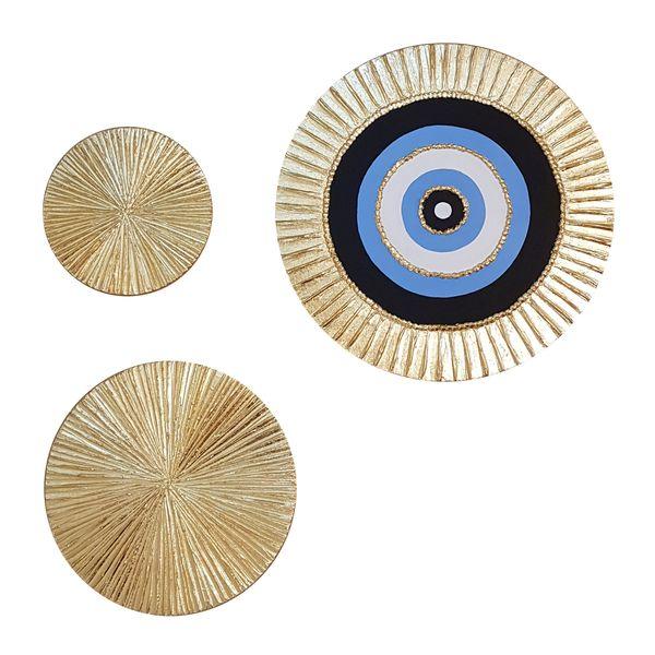 تابلو نقاشی ورق طلا طرح چشم نظر مجموعه 3 عددی
