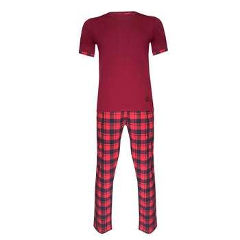 ست تی شرت و شلوار مردانه لباس خونه کد 991004 رنگ زرشکی