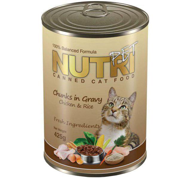 کنسرو غذای گربه نوتری پت مدل Rice and Chunks In gravy chicken مقدار ۴۲۵ گرم