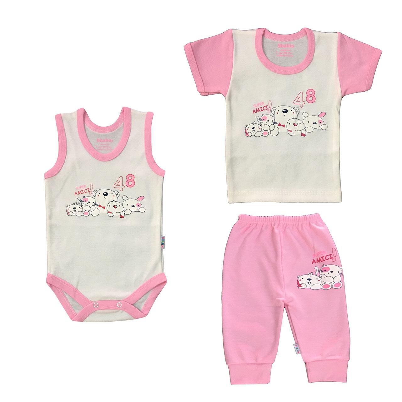 ست 3 تکه لباس نوزادی دخترانه شاهین طرح امیکی کد S