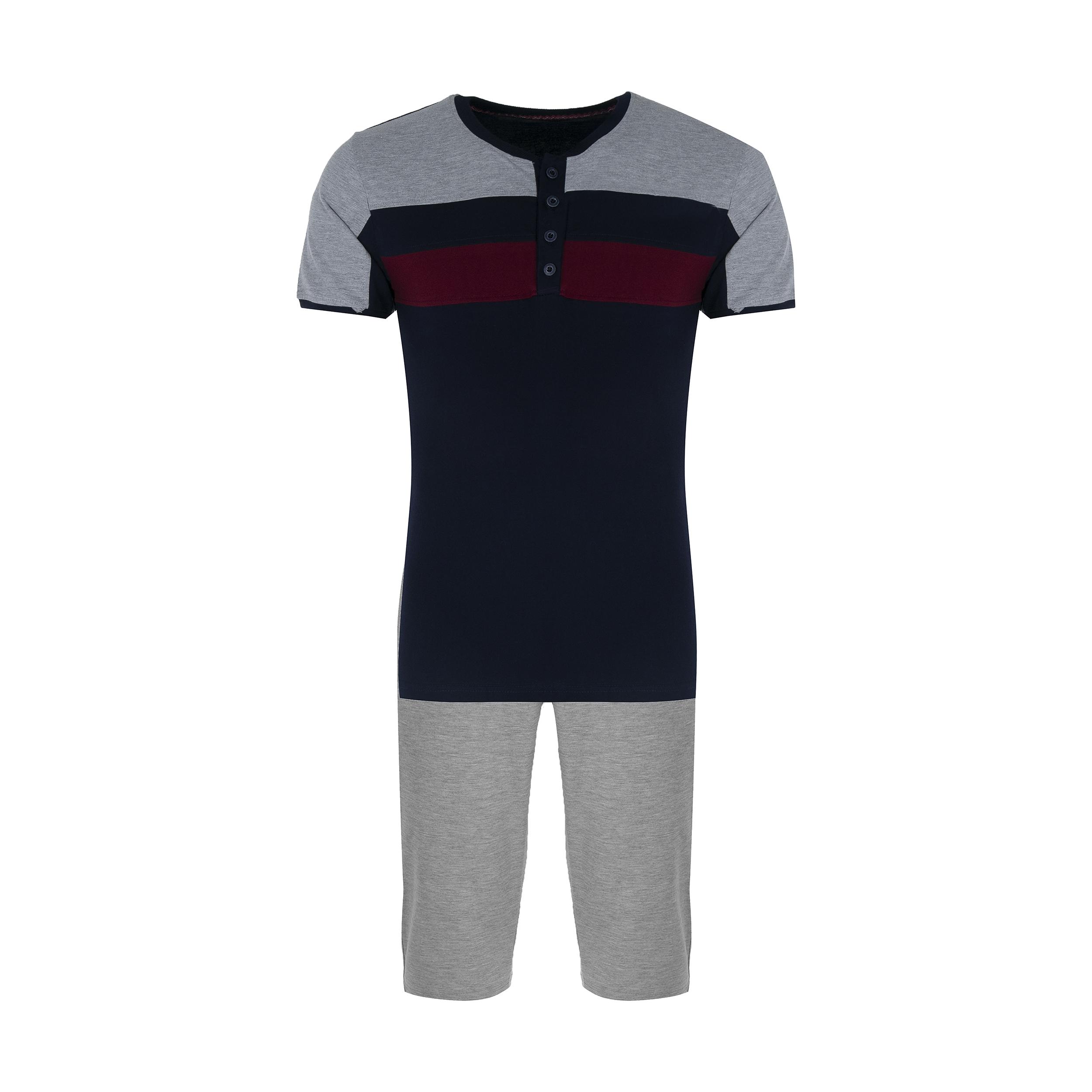 ست تی شرت و شلوار مردانه آسوده کد 0240 رنگ مشکی