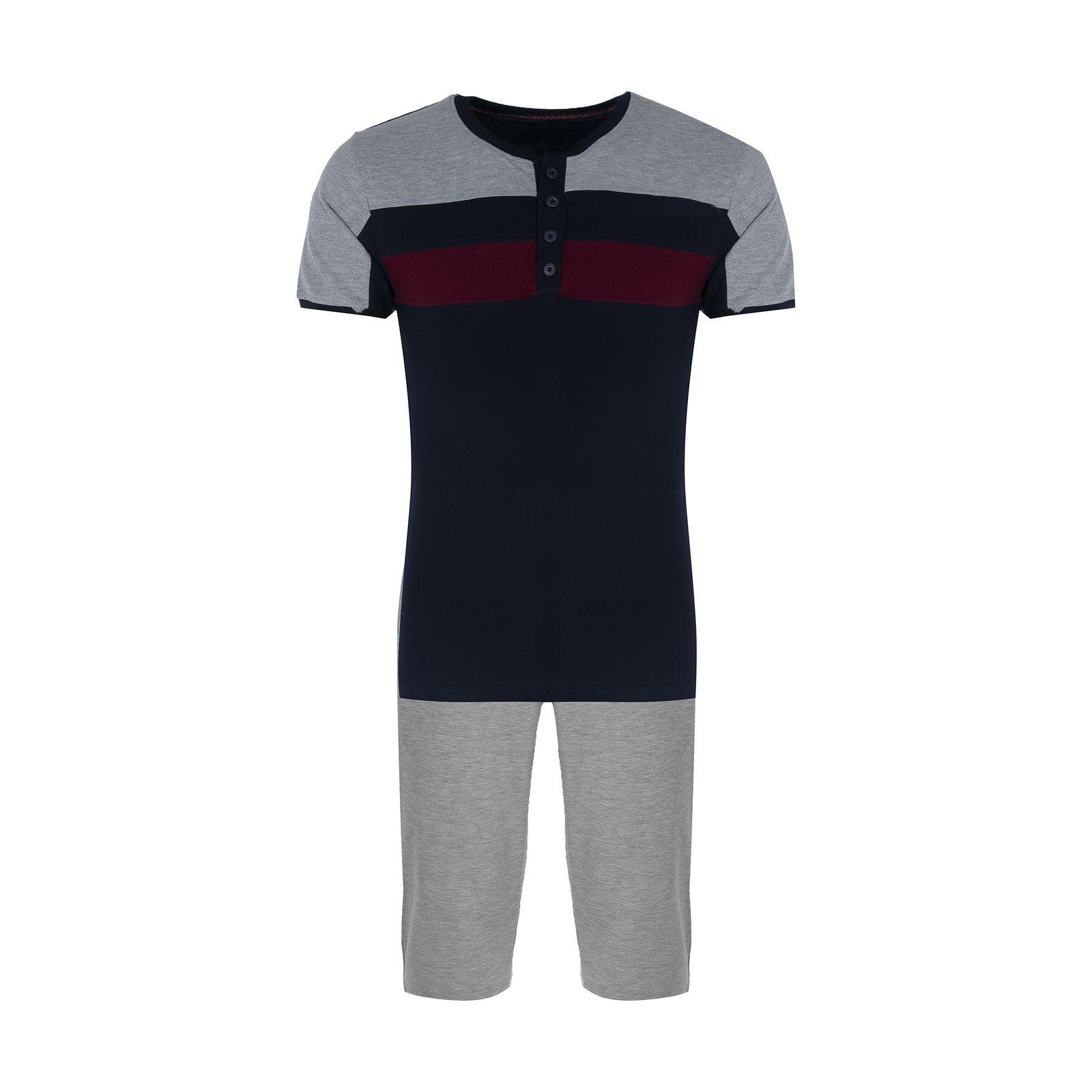ست تی شرت و شلوار مردانه آسوده کد 0240 رنگ مشکی -  - 2