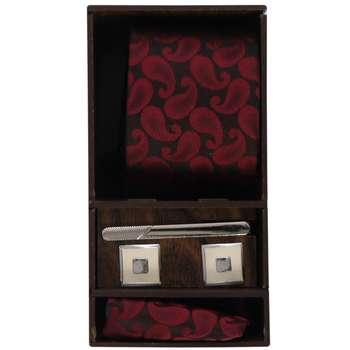 ست کراوات و دستمال جیب و دکمه سردست مردانه مدل PJ-103499