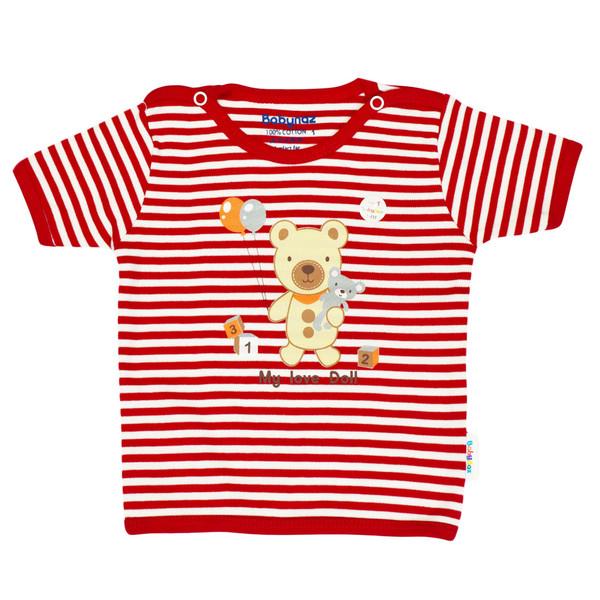 تی شرت آستین کوتاه نوزادی بی بی ناز طرح راه راه کد 004sb