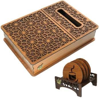 جعبه پذیرایی لوکس باکس کد LB17-00 به همراه زیر لیوانی