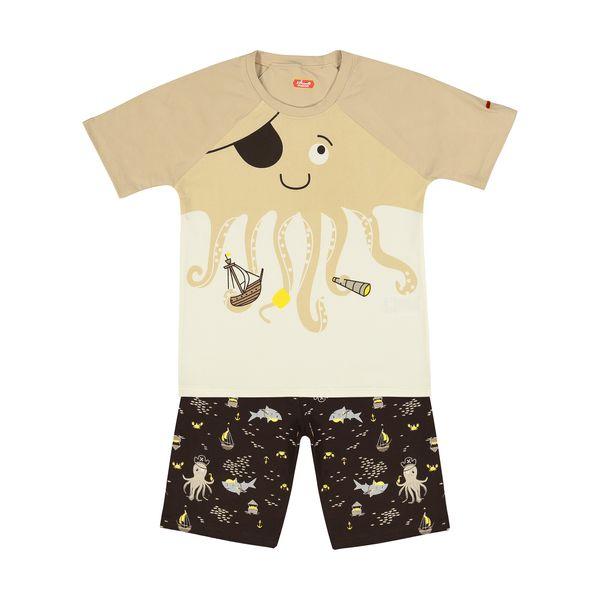 ست تی شرت و شلوارک راحتی پسرانه مادر مدل 2041107-07