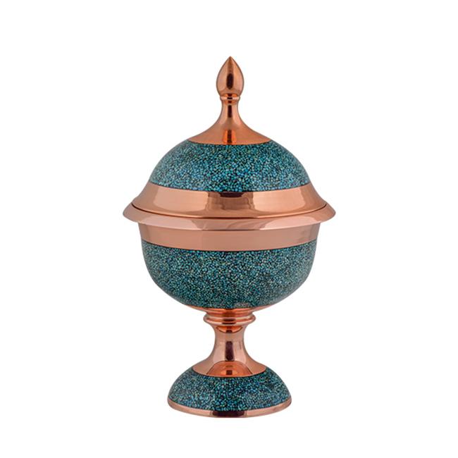 AGHAJANI HANDICRAFTS Turquoise inlaying sweet dish code F140