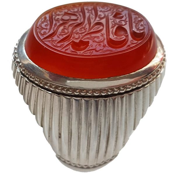 انگشتر نقره جواهرسرا مدل عقیق سرخ آبدار یمنی
