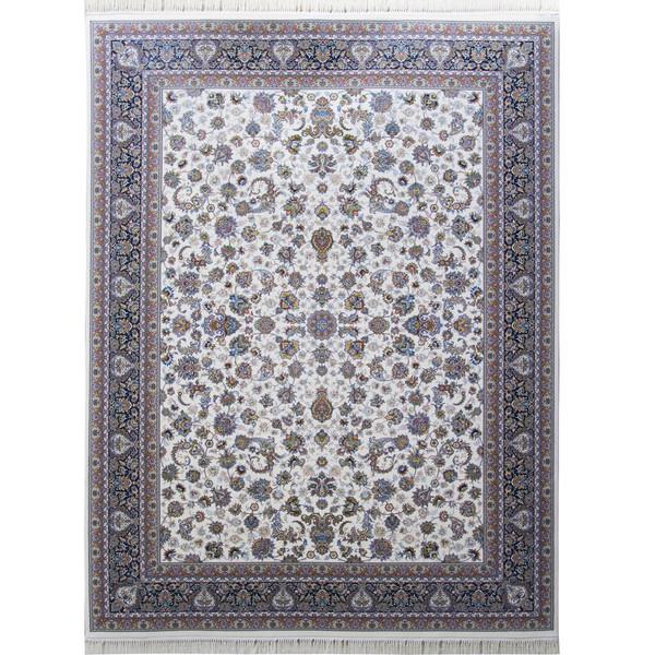فرش ماشینی احتشامیه طرح افشان درباری زمینه کرم