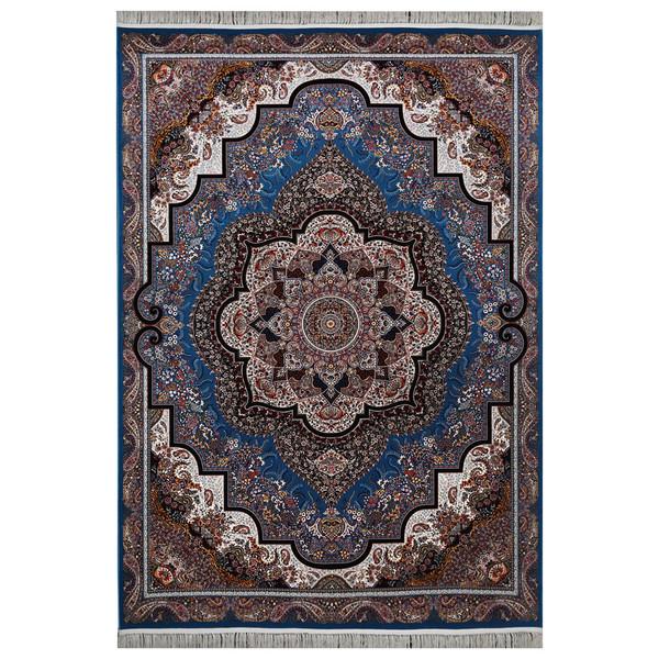 فرش ماشینی فرش هدیه طرح شهرزاد زمینه آبی